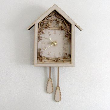 Diorama Cuckoo Clock, Forest Night Scenery by Seequin eclectic clocks