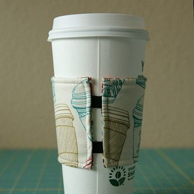 Coffee Cozy- I like the elastic on this one.  Great idea for the back to be adjustable.
