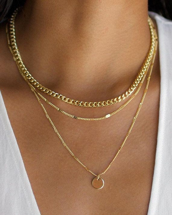 2d9f1500fa0d9 3 Layer Necklace, Layered Necklace Set, Gold Disc Necklace, 3 Layer ...