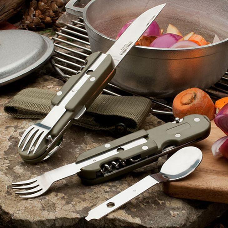 Camping Utensil Set: Camping Utensils, Knife Fork Spoon Opener Corkscrew  - Garrett Wade