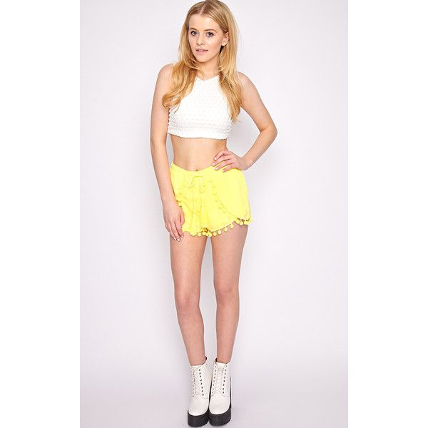 Sofia Neon Yellow Pom Pom Boxer Short ($13) ❤ liked on Polyvore featuring shorts, yellow, tassel shorts, neon shorts, tie-dye shorts, neon yellow shorts and cropped shorts