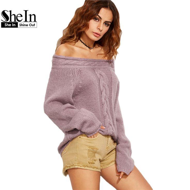 Shein女性カジュアルプルオーバーセーターレディース秋紫ケーブルニットロングスリーブオフショルダー特大セーター