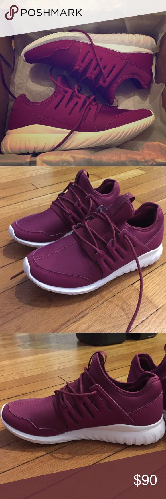 Adidas Tubular Radial Maroon Purple Burgundy BNIB! I did wear them around the house for a few hours and decided they're way too big for me! These are sold out in this color everywhere! Very lightweight, roomy, and comfortable. Look cute at the gym with this gorgeous maroon color  Size 7, could even fit 7.5 Adidas Shoes Athletic Shoes