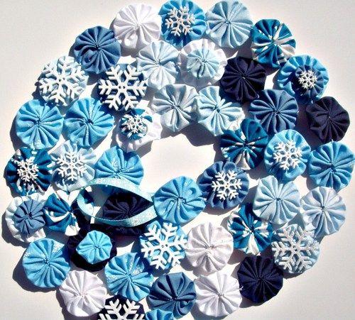 Snowflake Winter Blue Garland Christmas Decor or Tree Decoration