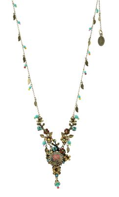 Setty Gallery - Michal Negrin Jewelry Beautiful Crystals Flower With Dangle Gold Leaves Necklace, $253 (http://www.settygallery.com/michal-negrin/michal-negrin-jewelry-beautiful-crystals-flower-with-dangle-gold-leaves-necklace/)
