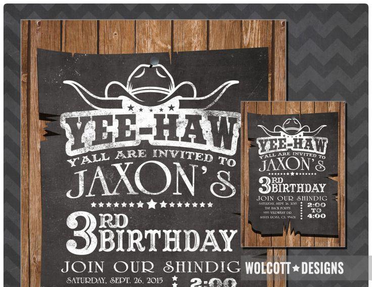 Chalkboard Cowboy Invitation. Custom /  Personalized invitations, Printable or printed invites. #wolcottdesigns