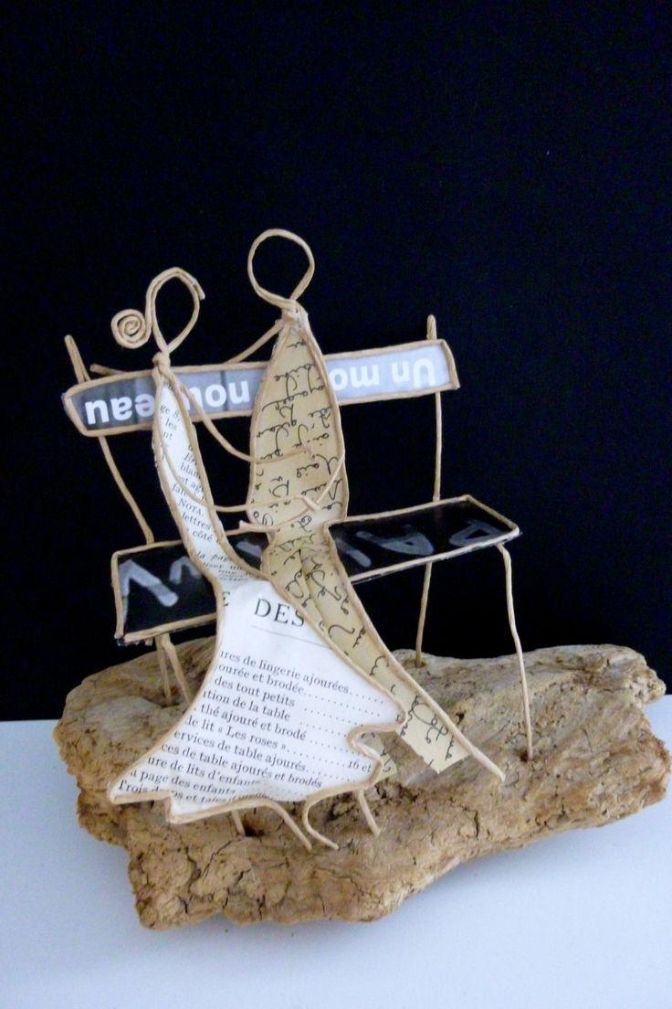 Les amoureux sur un banc - figurines en ficelle et papier