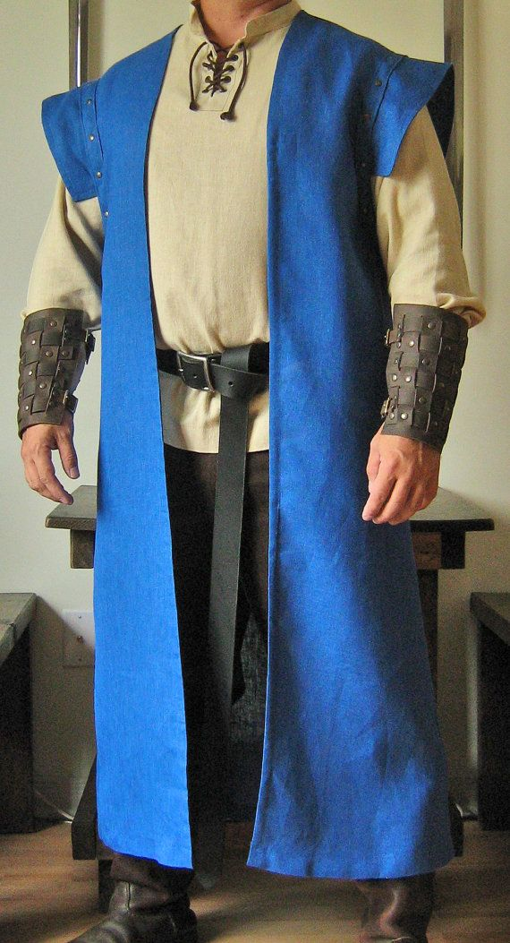 Medieval Celtic Lord King Sleeveless Mid-Calf Coat Vest Jacket with Wings.