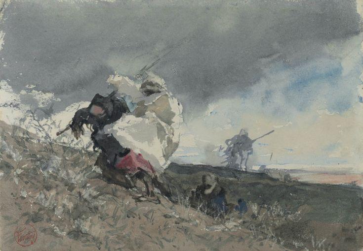 Árabes caminando bajo la tempestad obra realizada por Mariano Fortuny y Marsal entre 1862-1864 Acuarela sobre papel vitela grueso 17,7 x 25,2 cm Biblioteca Nacional Madrid.