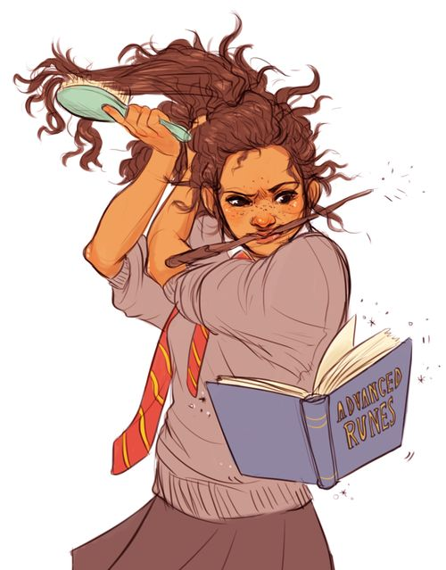 Hermione multitasking while she gets dressed.