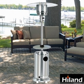 This Safe Stainless Steel Propane Patio Heater W/Adjustable Table Has  Regulator Included And Automatically