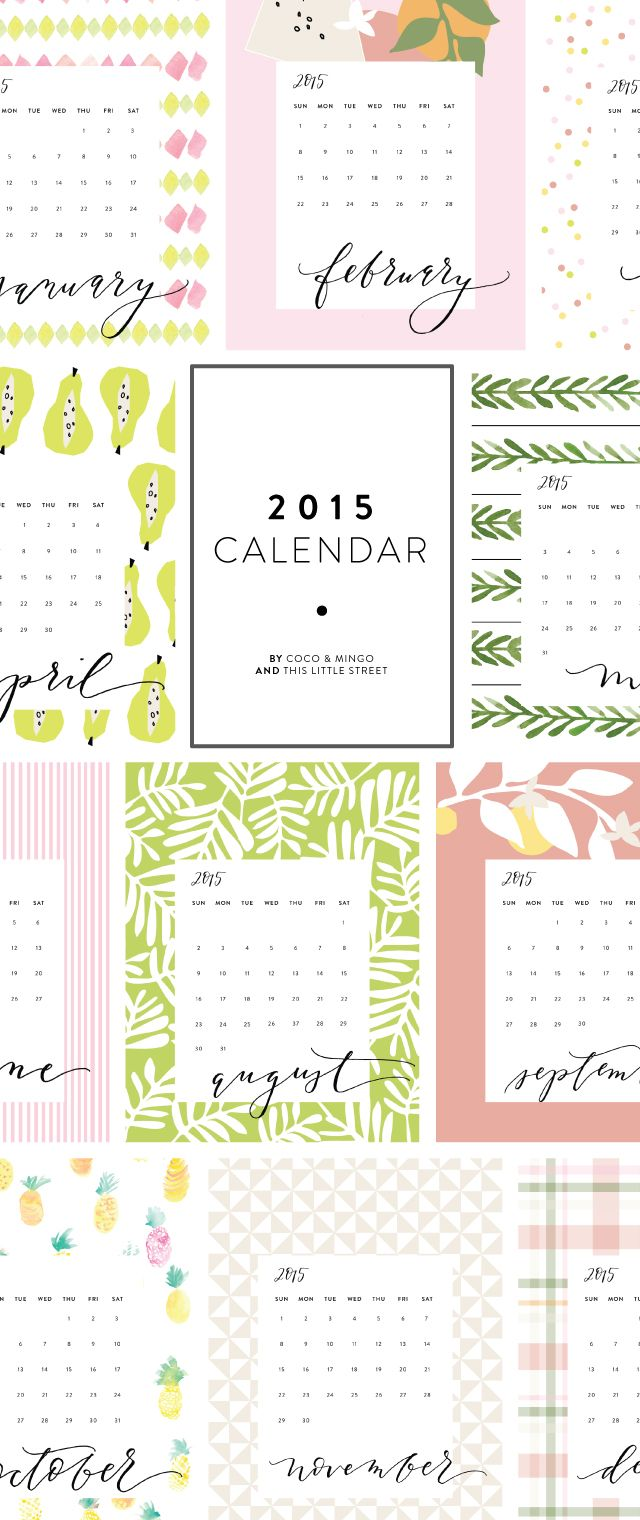 free 2015 calendar from Coco + Mingo & This Little Street | Download and print