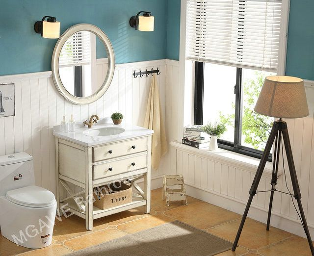 Oval Bathroom Mirror, Vanity Cabinet , Bath Mixer, Wood Counter Top
