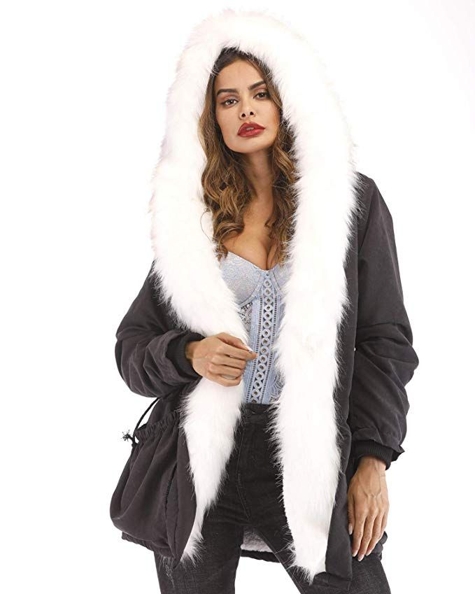 Womens Oversized Hooded Faux Fur Lined Casual Winter Outwear Parka Thicken Coat