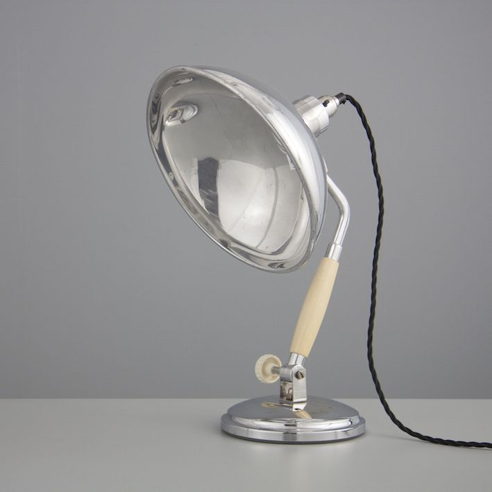 Vintage Mid Century Cream and Silver Aluminium French Desk Lamp with Chrome Plated Base 1940s