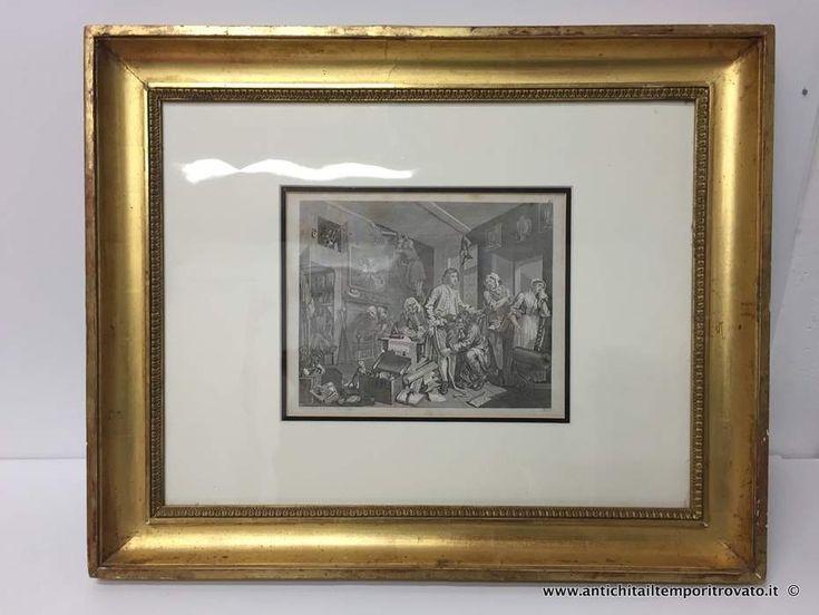 Oggettistica d`epoca - Stampe e dipinti Antica incisione di Hogarth: L`eredità - Antica cornice foglia oro con incisione Hogarth Immagine n°1
