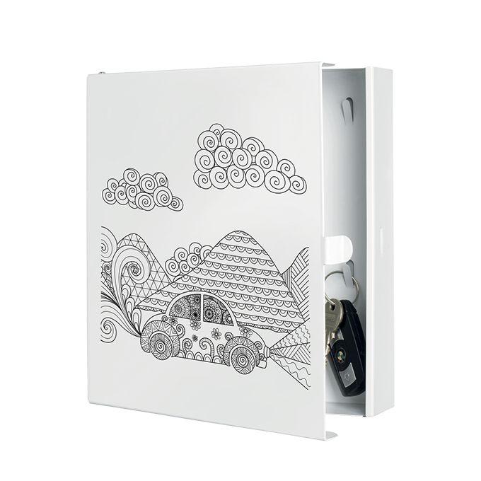 Portachiavi BEAT3    cassetta portachiavi 'beat3' in lamiera tagliata al laser, con base verniciata bianca e serigrafia  dimensione: 22x5x24  colore: bianco