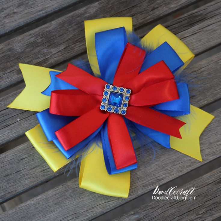 """Snow White Inspired Princess Hairbow!  I am doing Princess Inspired hairbows all week!  They are so cute and don't scream, """"I'm a Disney Princess!""""  So they are perfect for my inbetween daughter who just turned 12.  She loves dressing up and we like to do it subtly as well."""