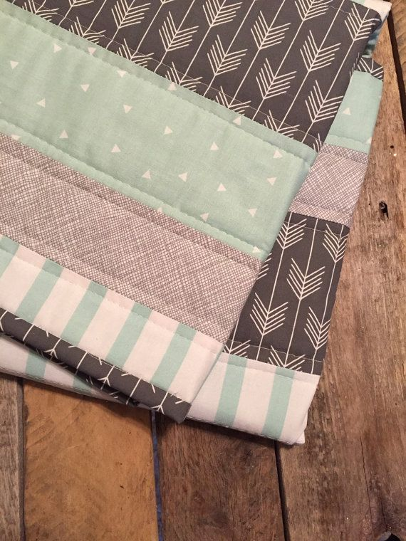 Modern baby quilt, neutral baby quilt, mint and grey, mint nursery, grey nursery