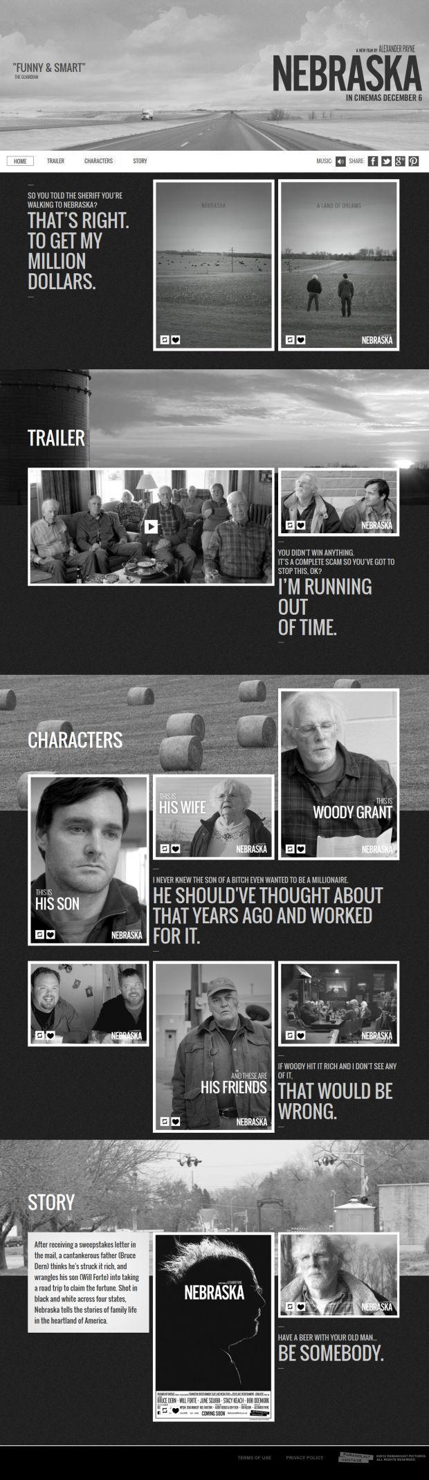 Nebraska Tumblr - html5, Responsive Design, jQuery, Inspiration, Scrolling Site, Film, Cinema, Website