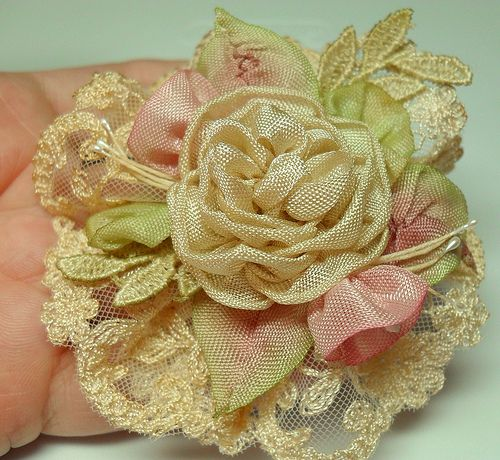Tea dyed English lace with ribbonwork flowers