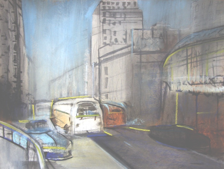 LA Bus 1940  watercolour and pastel  2013