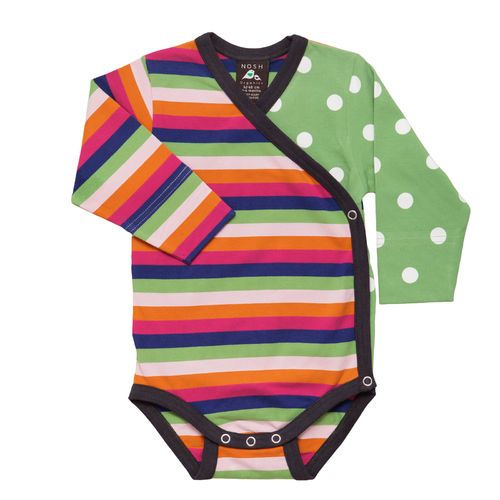 Colourful lilac/ pink multistripe and green polka dots combined in a cute wraparound bodysuit.