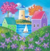 Folk Art Beach Print Paintings - Violet Hills by Kim Leo