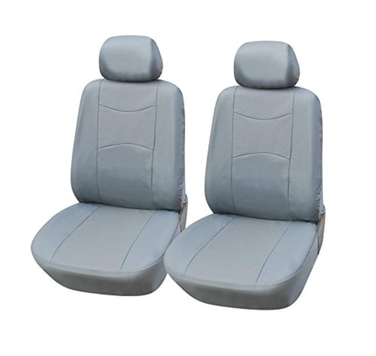 115902 Grey Leather Like 2 Front Car Seat Covers Compatible To Cadillac XT5 Crossover SRX