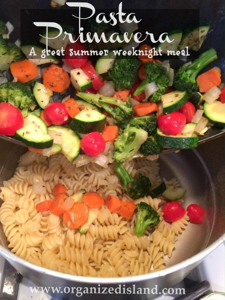 #meatlessMonday meal idea  Type a Board Name Looking for a tasty way to incorporate fresh vegetables into dinner? This lovely pasta primavera recipe is tasty and so easy!