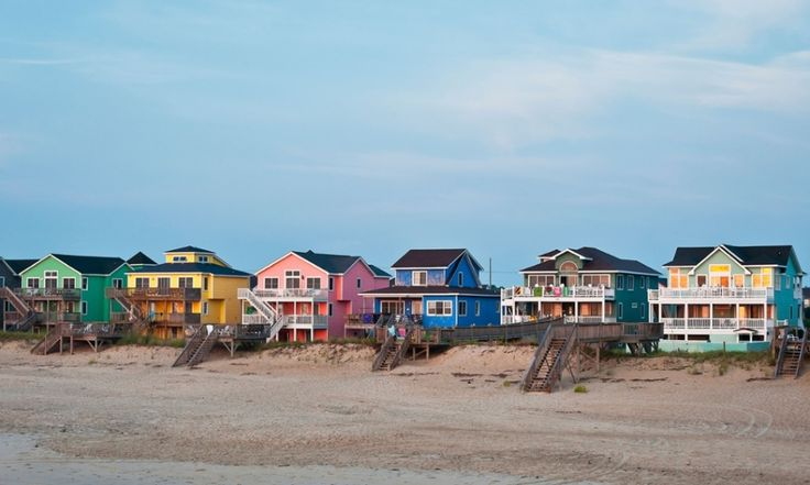 Waterfront beach houses in Nags Head, Outer Banks, North Carolina.