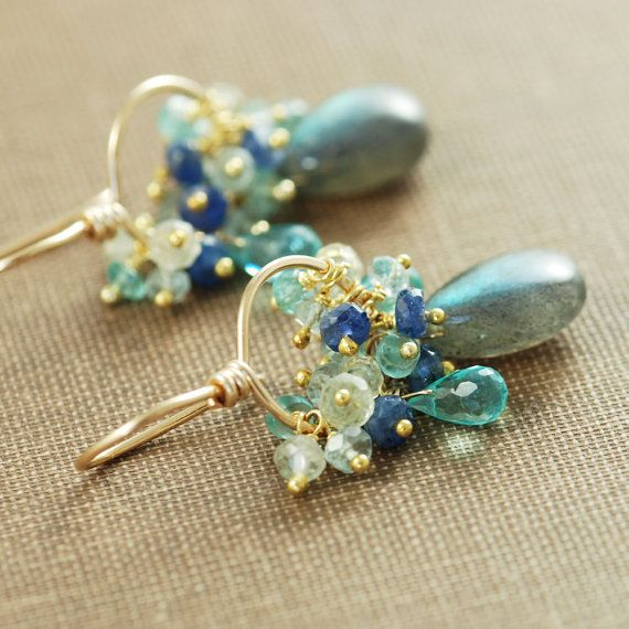 Gemstone Gold Earrings Labradorite Sapphires Aquamarine Apatite, Hoops Blue Teal, aubepine on Etsy, $74.00