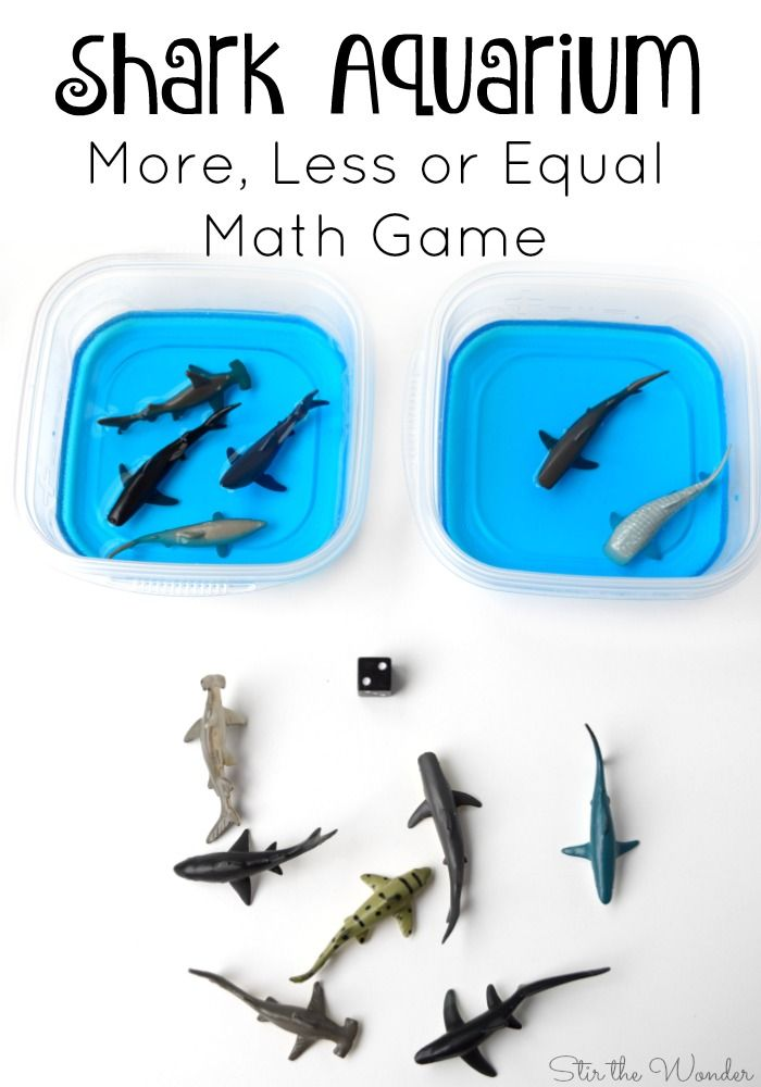 This shark aquarium math game is a fun way to inspire learning in young children who are interested in sharks or to go along with a ocean theme!