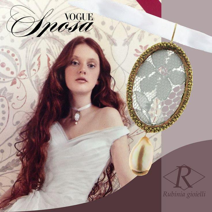 Vogue Sposa Gennaio 2014 - Ciondolo in pizzo e perle Rubinia gioielli | Lace and Pearl pendant Rubinia gioielli