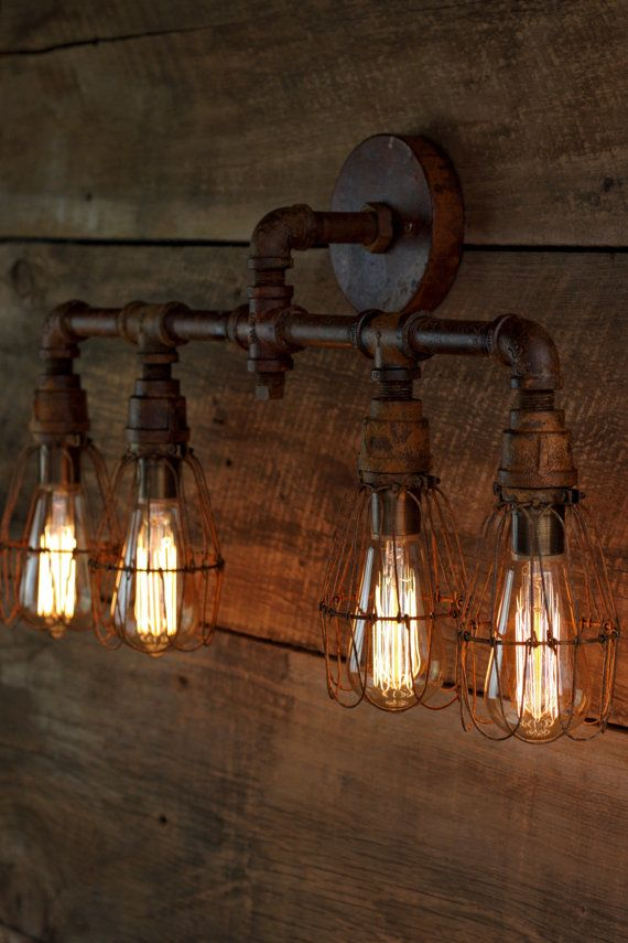 rustic industrial lighting. the panzer4 vanity rustic metal pipe bathroom iron industrial lighting