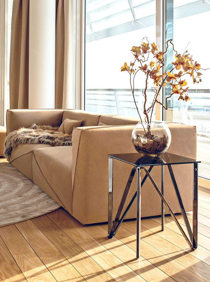 Fendi Casa Contemporary - Diagonal sofa and side table www.luxurylivinggroup.com #Fendi #LuxuryLivingGroup