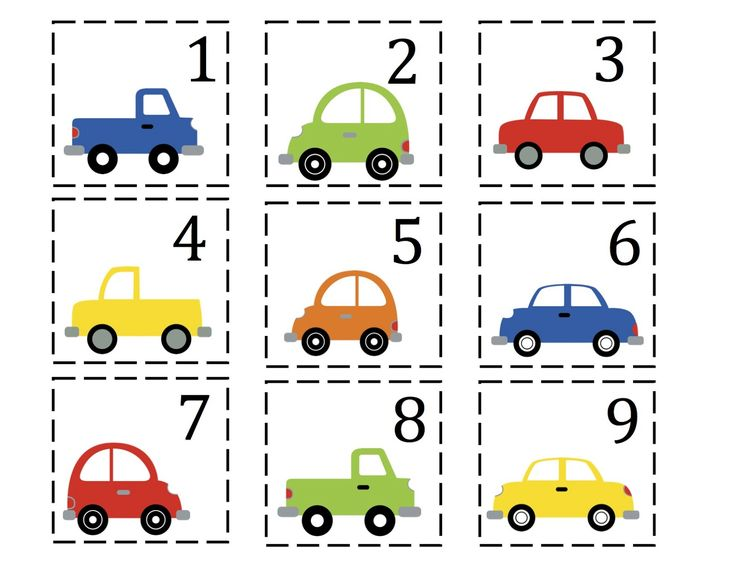 preschoolers cars preschool printables car number cards kids art transportation theme. Black Bedroom Furniture Sets. Home Design Ideas