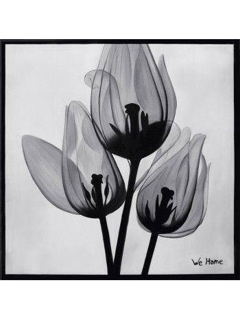 B&W FLO MOD. 02 quadro olio su tela dipinto a mano. Stile floreale.