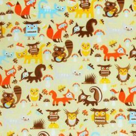 Retrokänsla med roliga fabeldjur i fina färger. Tyget Woodland designat av Sandra Isaksson för Mairo gör både barn och vuxna glada.