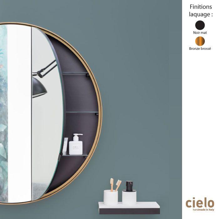 Armoire Miroir Murale Ronde O90 Cm I Catini Structure Bois Laque