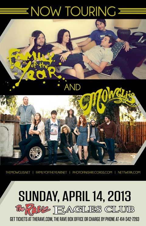 Family Of The Year and The Mowgli's live in concert at The Rave. April 14, 2013