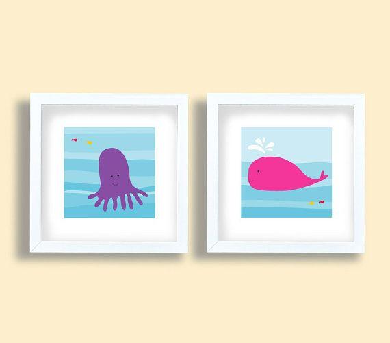 Octopus whale set, Ocean art print set, whale, octopus, children room art set, sea animals prints, kids wall art