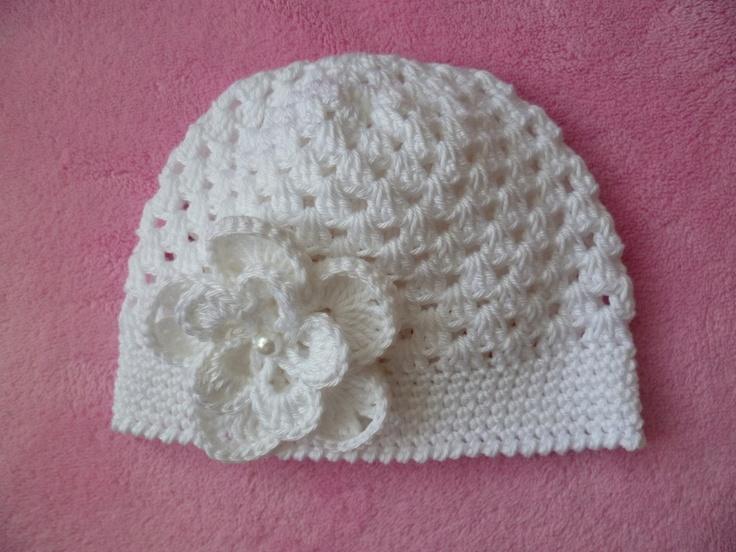 Babymütze Mütze mit Magnolie Baumwolle gehäkelt