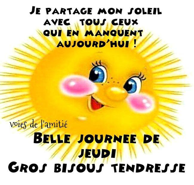 Je partage mon soleil avec tous ceux qui en manquent aujourd'hui ! Belle journée de Jeudi. Gros bisous tendresse #jeudi soleil tendresse bonne humeur amitie