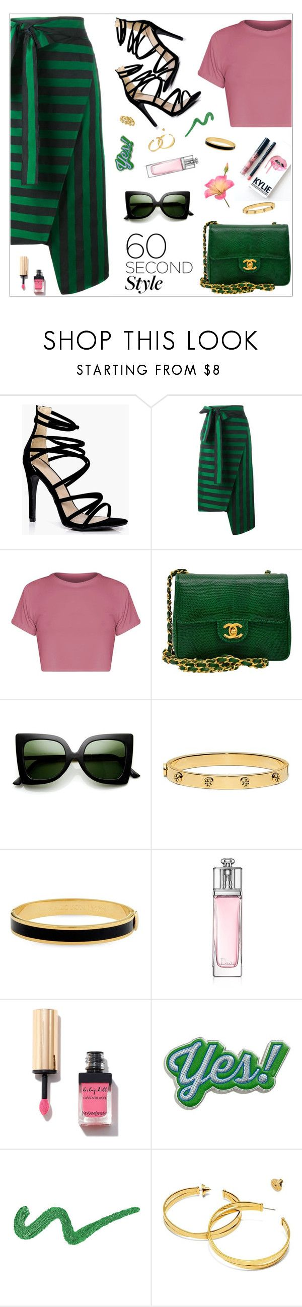 """""""Striped Skirt"""" by nastenkakot on Polyvore featuring Boohoo, Rochas, Chanel, ZeroUV, Kylie Cosmetics, Tory Burch, Halcyon Days, Christian Dior, Yves Saint Laurent and Anya Hindmarch"""