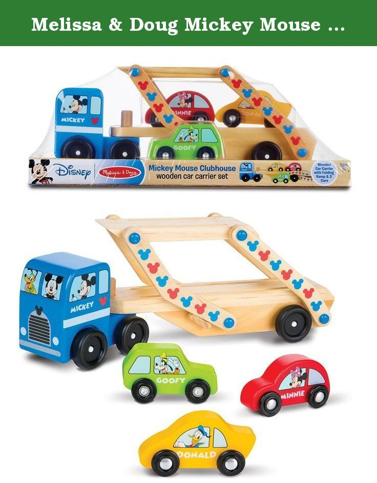 Melissa & Doug Mickey Mouse Clubhouse Car Carrier Truck and Cars Wooden Toy Set With 1 Truck and 3 Cars. Climb aboard this car Carrier truck with Mickey in the driver seat, and friends Donald, Goofy, Minnie, and Pluto along for the ride! the two-part, two-level wooden truck swivels and has a fold-down ramp for loading and hauling the three brightly colored cars. Character names on the truck and cars helps kids with letter and word recognition and the set encourages motor skills and...