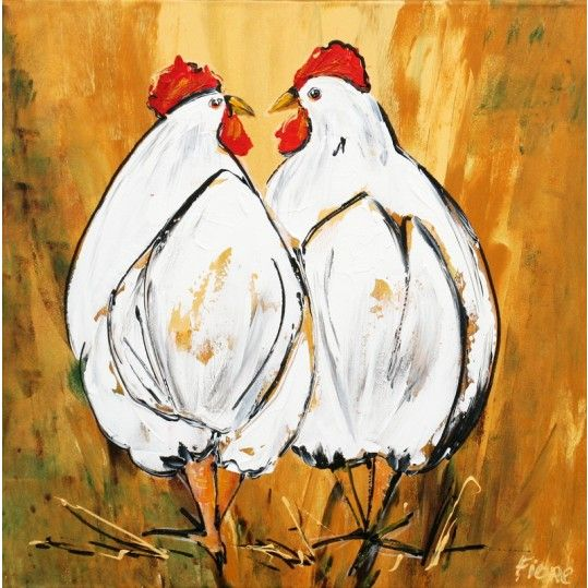 Schilderij van twee kippen geel - Modern painting of two chickens, painted on a yellow background which resembles the straw, chickens use to play in.