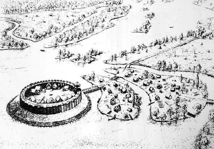 "Slavic castle Potsdam near Berlin in Germany. 9./10. century. The slavic name was ""Poztupimi""."