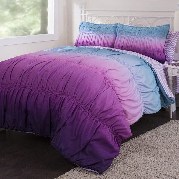 Ombre Rouched Reversible Bed In A Bag Set Purple 90