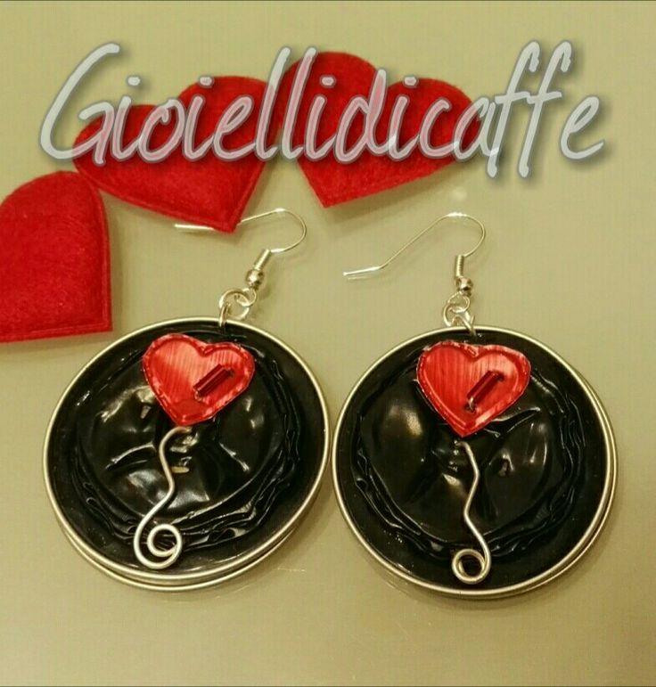 Gioiellidicaffe - orecchini San Valentino - capsule caffe nespresso Ristretto